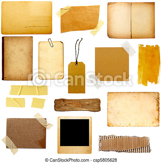 anteckna, papper,  grunge, stycke - csp5805628