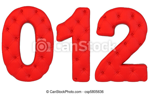 Luxury red leather font 0 1 2 numerals isolated - csp5805636