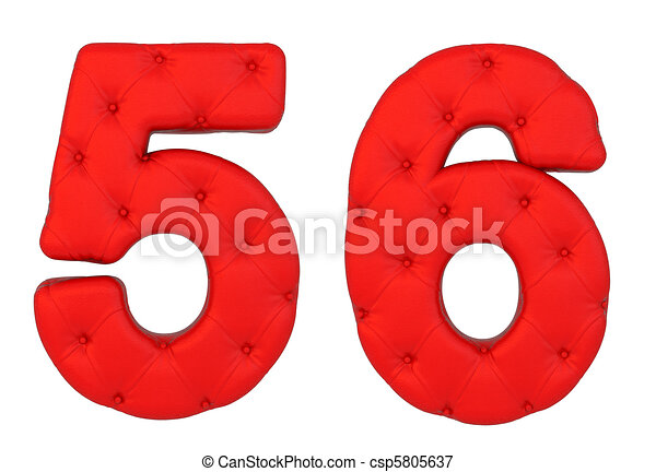 Luxury red leather font 5 6 numerals - csp5805637