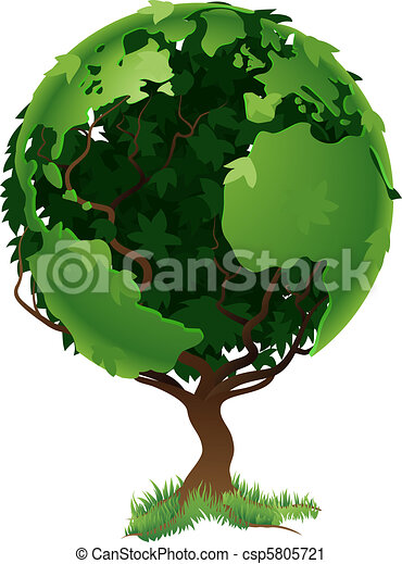 Globe world tree concept - csp5805721