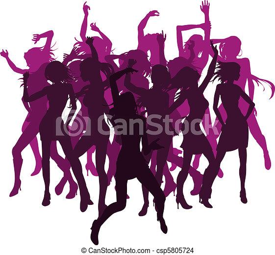 EPS vector de hermoso, mujeres, bailando, Siluetas - grupo, Sexy ...