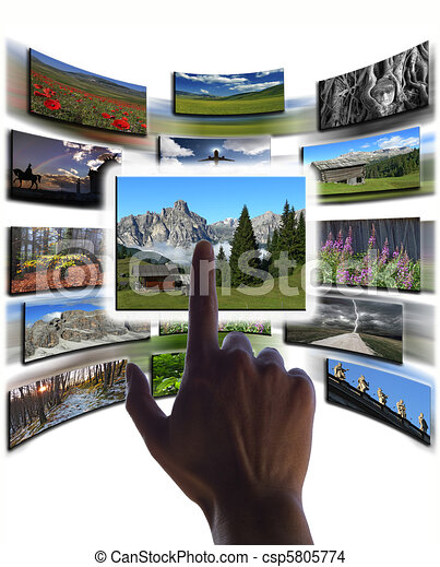 hand and pictures collage on touchscreen - csp5805774