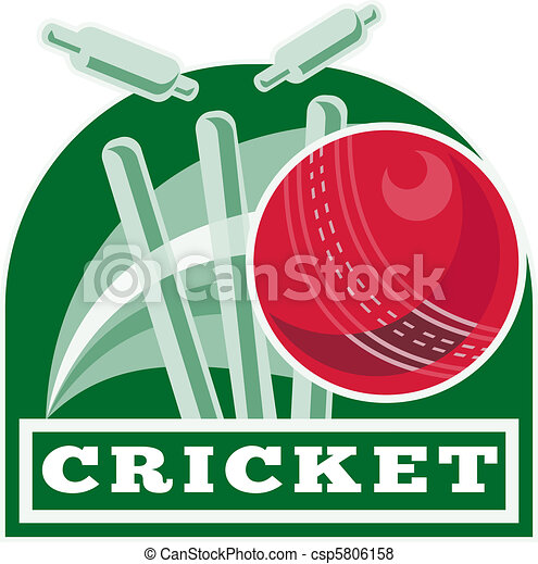 cricket ball bowling wicket - csp5806158