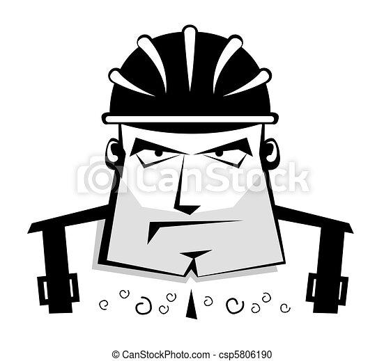 Vector worker in protective helmet  - csp5806190