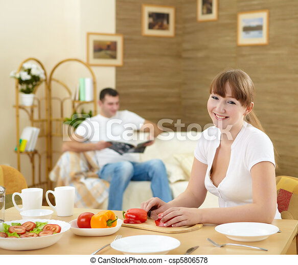 wife at home in the kitchen - csp5806578