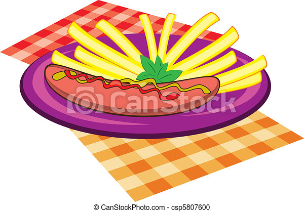 Violet plate of sausage and chips - csp5807600