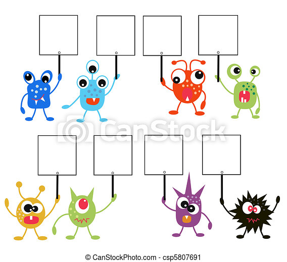 colorful monsters with placards - csp5807691