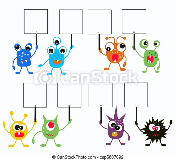 colorful monsters with placards - csp5807692