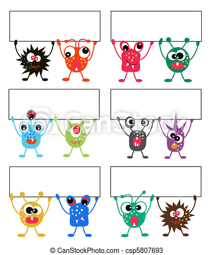 colorful monsters with placards - csp5807693