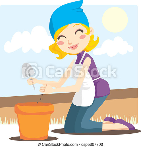 Woman Planting Seeds - csp5807700