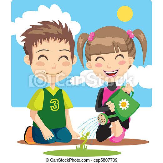 Watering Children - csp5807709