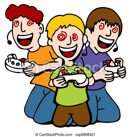 Vector Clip Art of Video Game Addicted Kids - An image of a three ...