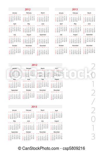 Template foe calendar 2012-2013 - csp5809216