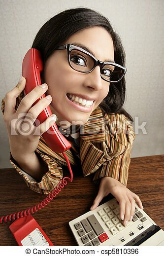 Retro secretary wide angle humor telephone woman - csp5810396