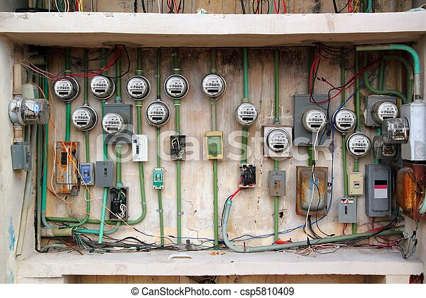 electric meter messy electrical wiring installation - csp5810409