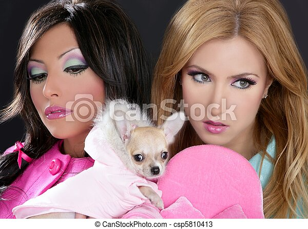 fashion doll women with chihuahua dog pink 1980s - csp5810413