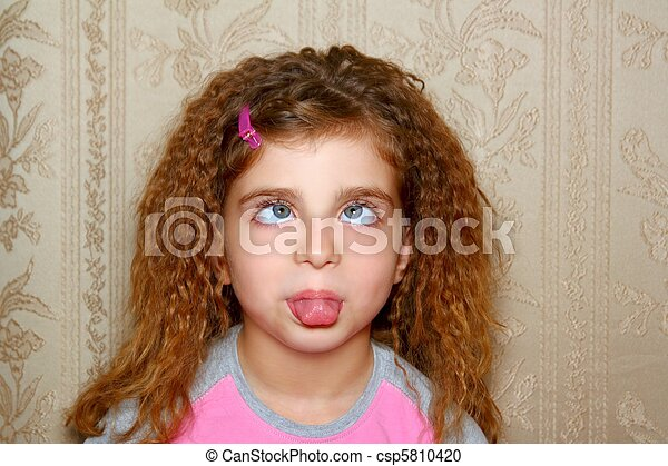 funny girl face ugly expression cross-eyed squinting - csp5810420