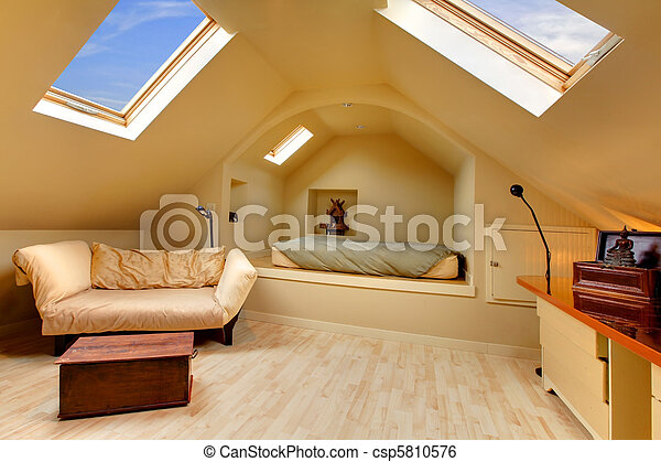 Adorable attic bedroom with unique design - csp5810576