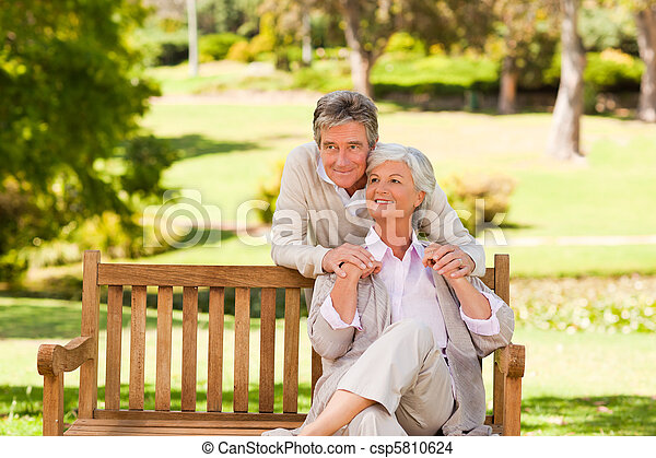 Elderly couple in the park - csp5810624