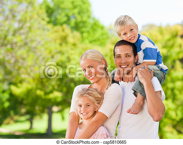 Happy family in the park - csp5810665