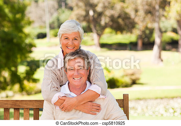 Elderly couple in the park - csp5810925