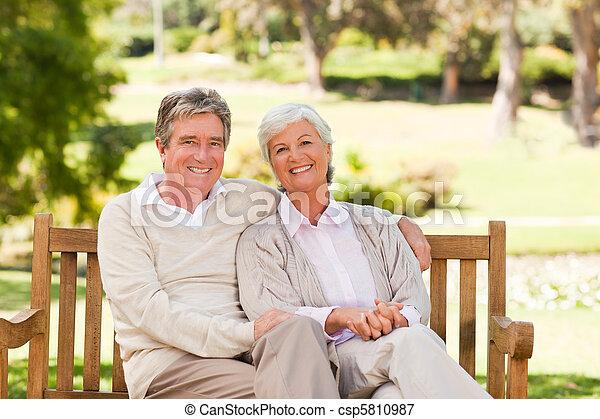 Senior couple on the bench - csp5810987