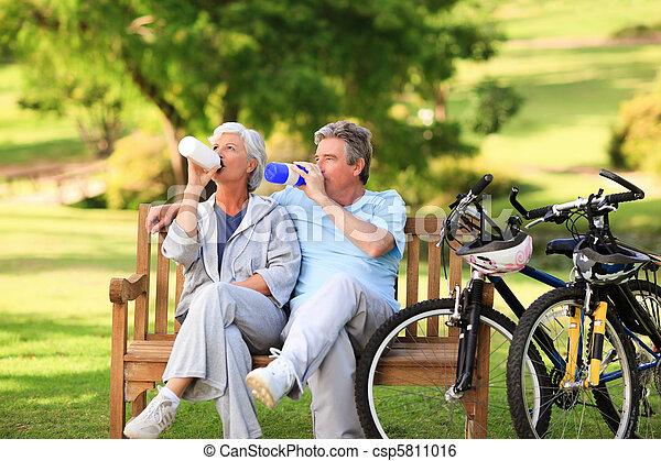 Elderly couple with their bikes - csp5811016