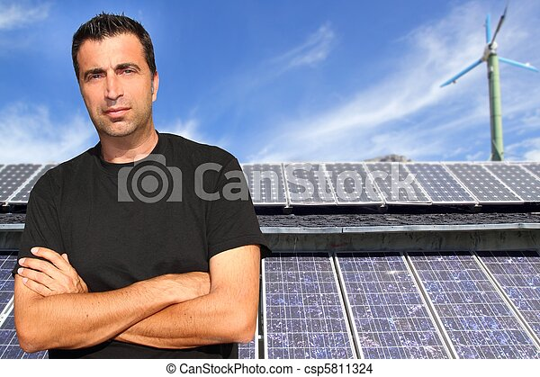 Green energy solar plates man portrait ecology - csp5811324