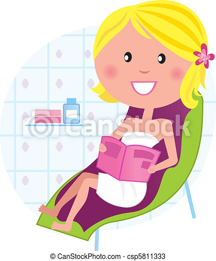 Wellness & spa: Woman relaxing on the lounge chair - csp5811333