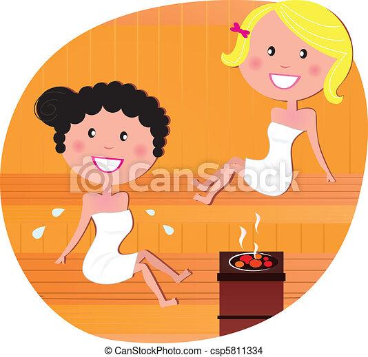 Cute women / friends relaxing in a hot sauna - csp5811334