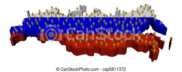 Russia map flag with many people - csp5811372