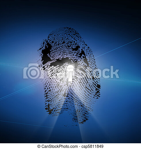 Finger Print with Keyhole - csp5811849
