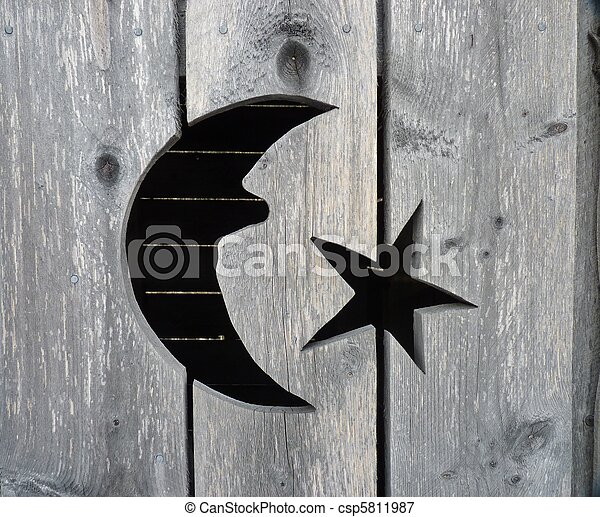 A closeup of the moon and star cutout on a rustic wooden. & Outhouse door Stock Photo Images. 355 Outhouse door royalty free ... Pezcame.Com