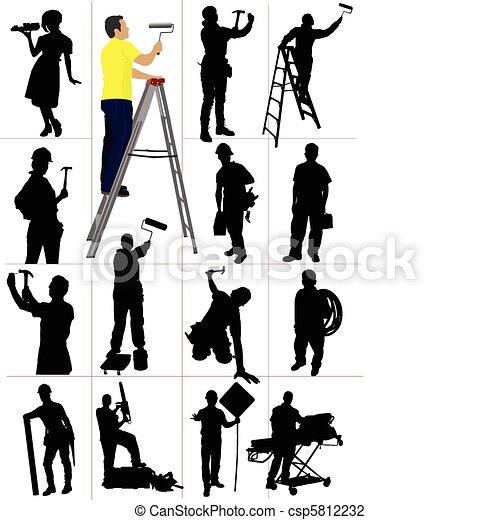 silhouettes., lavorante, woma, uomo - csp5812232