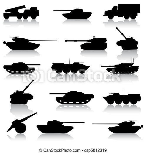Collection set of tanks of guns - csp5812319