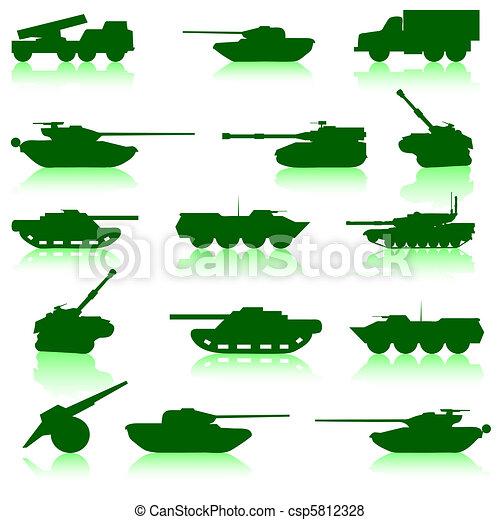 Collection set of tanks of guns  - csp5812328