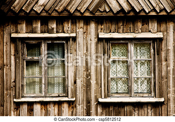 Window of a wooden cottage  - csp5812512