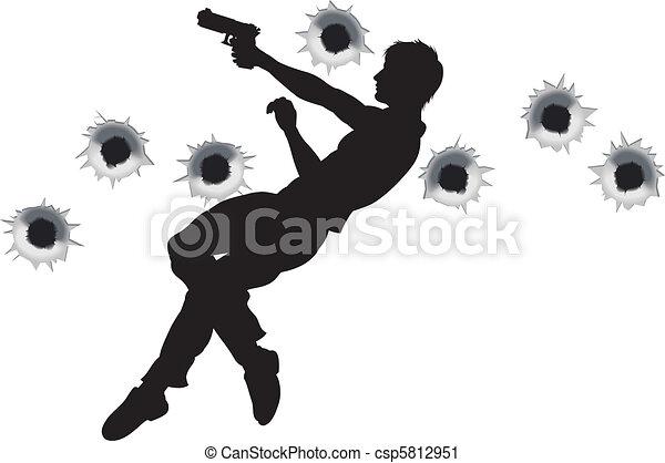 Action hero in gun fight silhouette - csp5812951