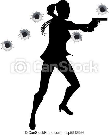 Woman action hero in gun fight silh - csp5812956