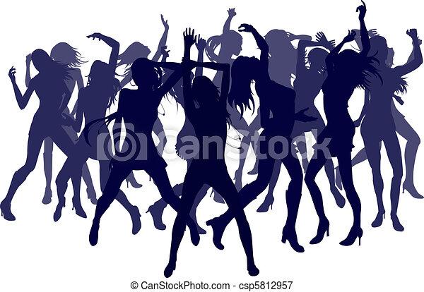 Ilustraciones vectoriales de hermoso, mujeres, bailando, Siluetas ...