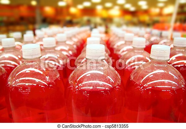 assembly line bottle red liquid rows lines - csp5813355