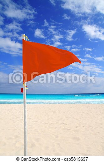 Beach red flag bad weather wind advice Caribbean - csp5813637