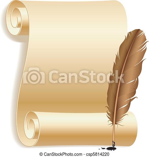 vektor clipart von feder papier altes papier rolle und feder csp5814220 suchen sie clip. Black Bedroom Furniture Sets. Home Design Ideas