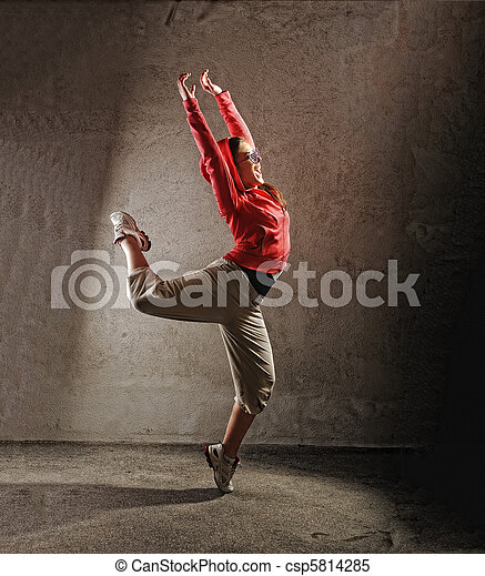 Young female dancing  modernbreak  dance - csp5814285