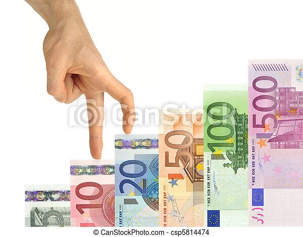 Hand climbing up stairs of money - csp5814474