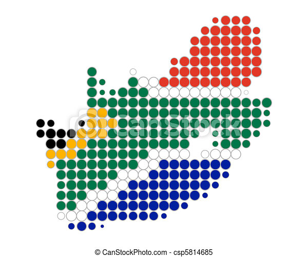 Map and flag of South Africa - csp5814685