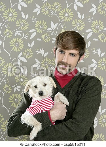 geek retro man holding dog silly on wallpaper - csp5815211