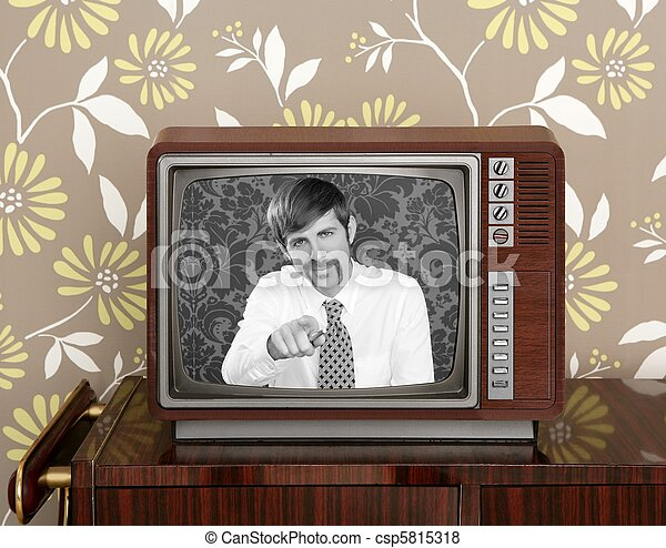 retro tv presenter mustache man wood television - csp5815318