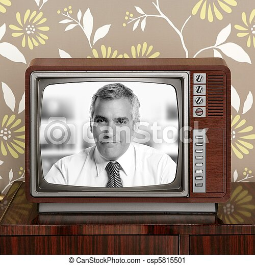 senoir tv presenter in retro wood television - csp5815501