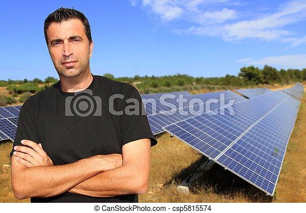 Green energy solar plates man portrait ecology - csp5815574